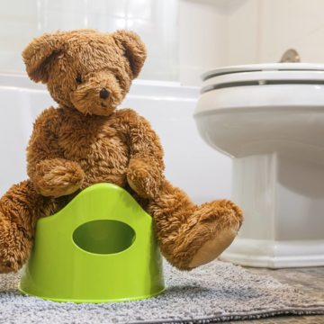 Teddy bear showing how to use toilet